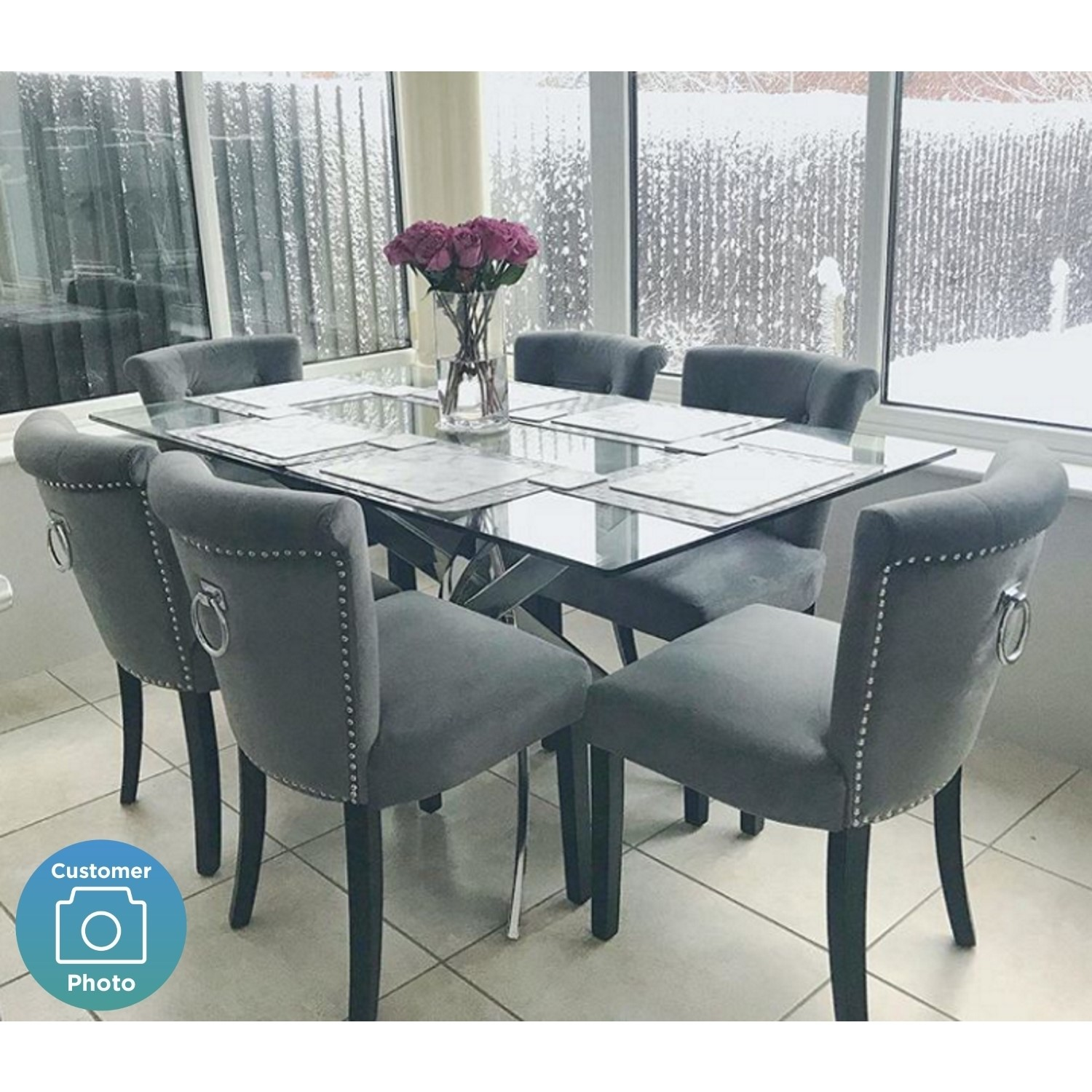 Picture of: Glass Dining Table With Chrome Base Seats 6 Vida Living Kalmar Furniture123