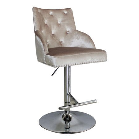 Arianna Adjustable Bar Stool in Champagne Velvet with Silver Studs
