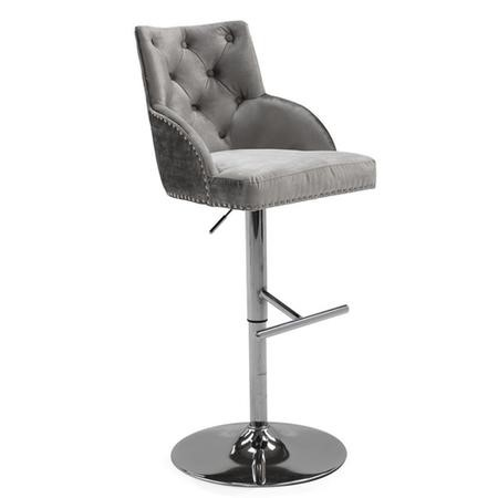 GRADE A1 - Arianna Adjustable Bar Stool in Pewter Grey Velvet with Silver Studs