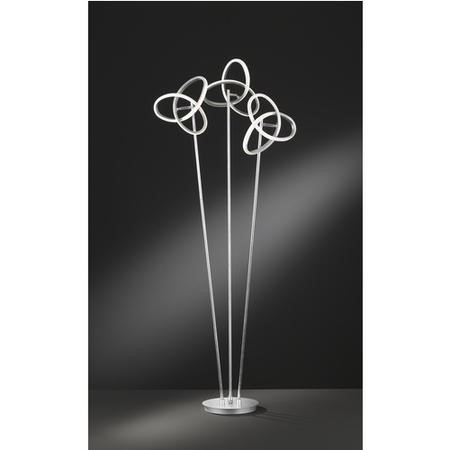 Silver Floor Lamp with 3 Stems & Swirling Design - Eliot