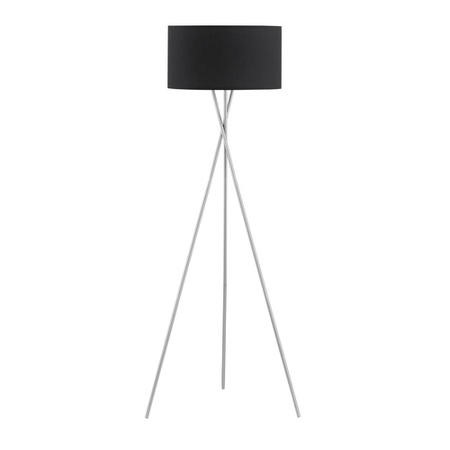 Tripod Standing Lamp in Chrome with Black Shade - Kay