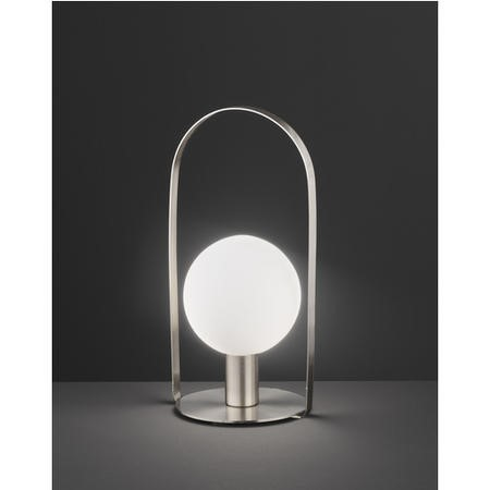 Silver Table Lamp with Opal White Glass - Verre