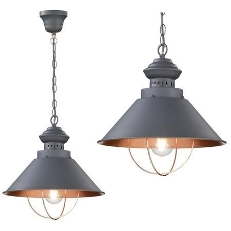 Pendant Light in Grey & Copper - Florence