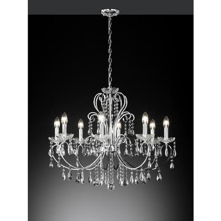 8 Light Chandelier with Silver Crystals - Arizona