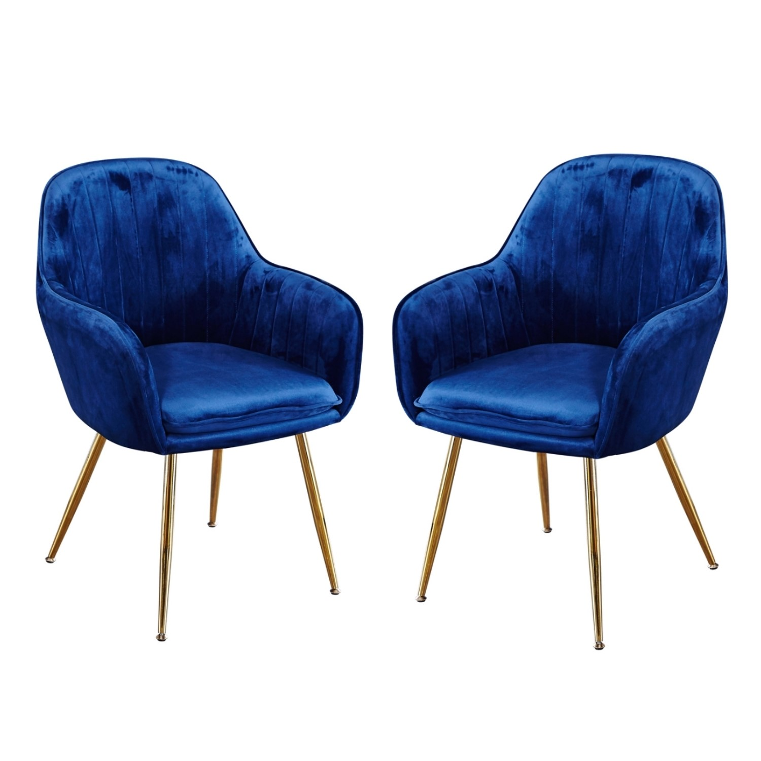 Picture of: Set Of 2 Blue Velvet Dining Chairs With Gold Legs Lara Furniture123