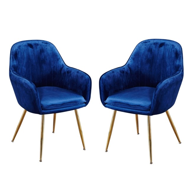 Set of 2 Blue Velvet Dining Chairs with Gold Legs - Lara
