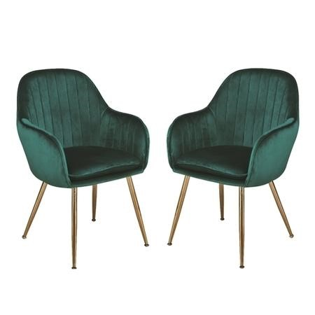 Set of 2 Green Velvet Dining Chairs with Gold Legs - Lara
