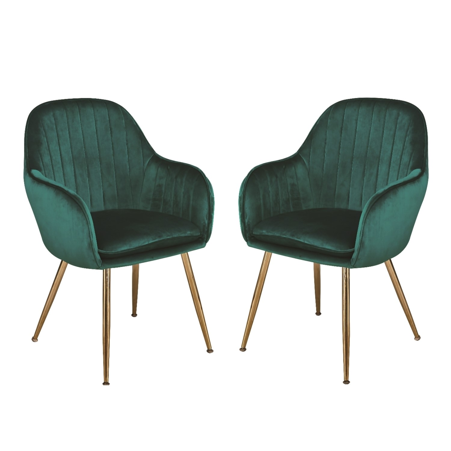 Set Of 2 Green Velvet Dining Chairs With Gold Legs Lara Furniture123