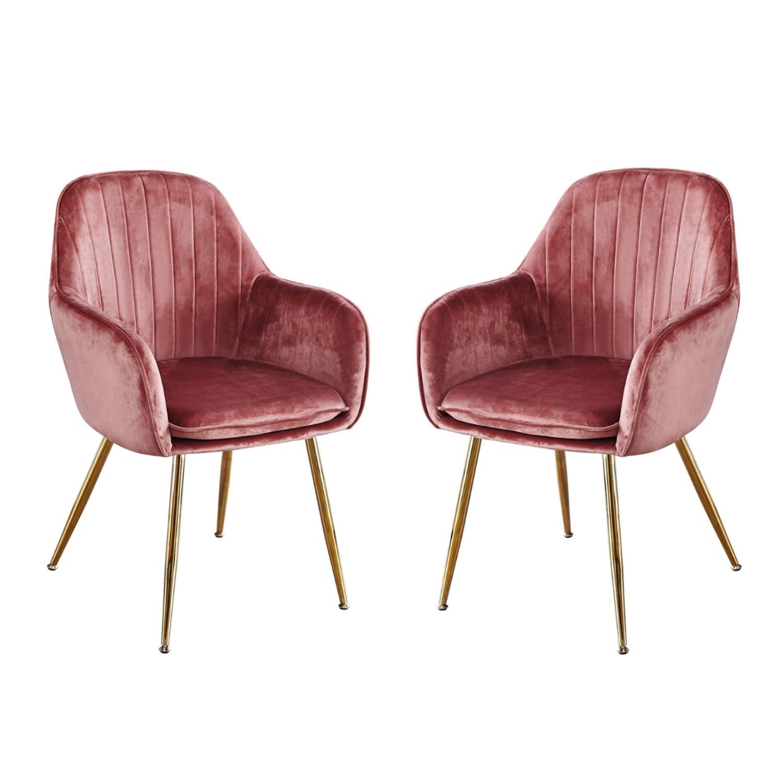 Surprising Set Of 2 Pink Velvet Dining Chairs With Gold Legs Lara Uwap Interior Chair Design Uwaporg