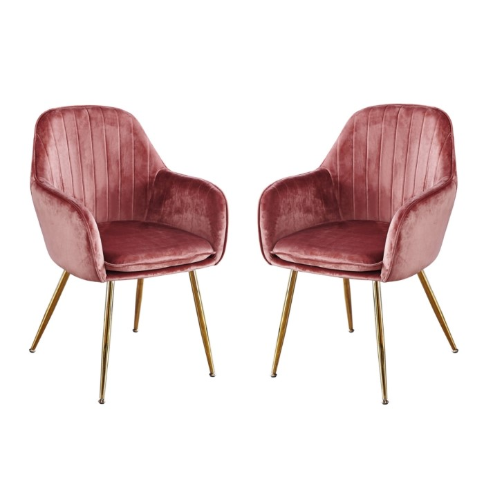 Lpd Lara Pair Of Dining Chairs Vintage Pink With Gold Legs