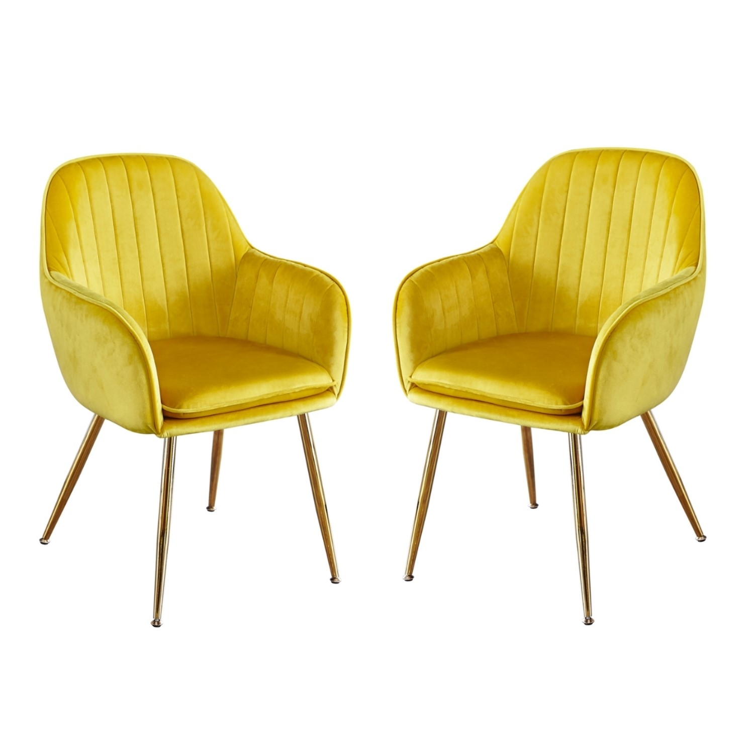 Picture of: Set Of 2 Yellow Velvet Dining Chairs With Gold Legs Lara Furniture123
