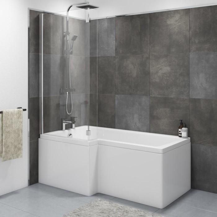 Lomax Left Hand L Shaped Shower Bath - 1700 x 850 x 700mm | Furniture123