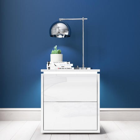 Lucia White High Gloss Bedside Table with LED Light