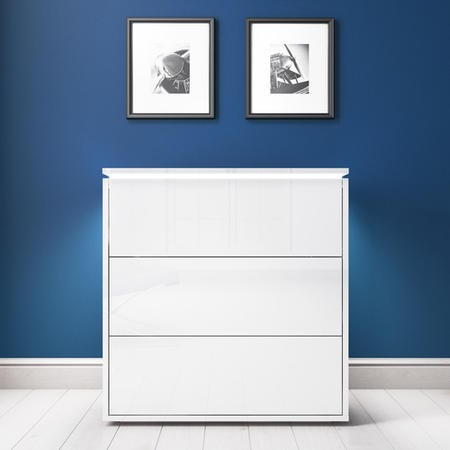 Lucia White High Gloss Chest of Drawers with LED Feature
