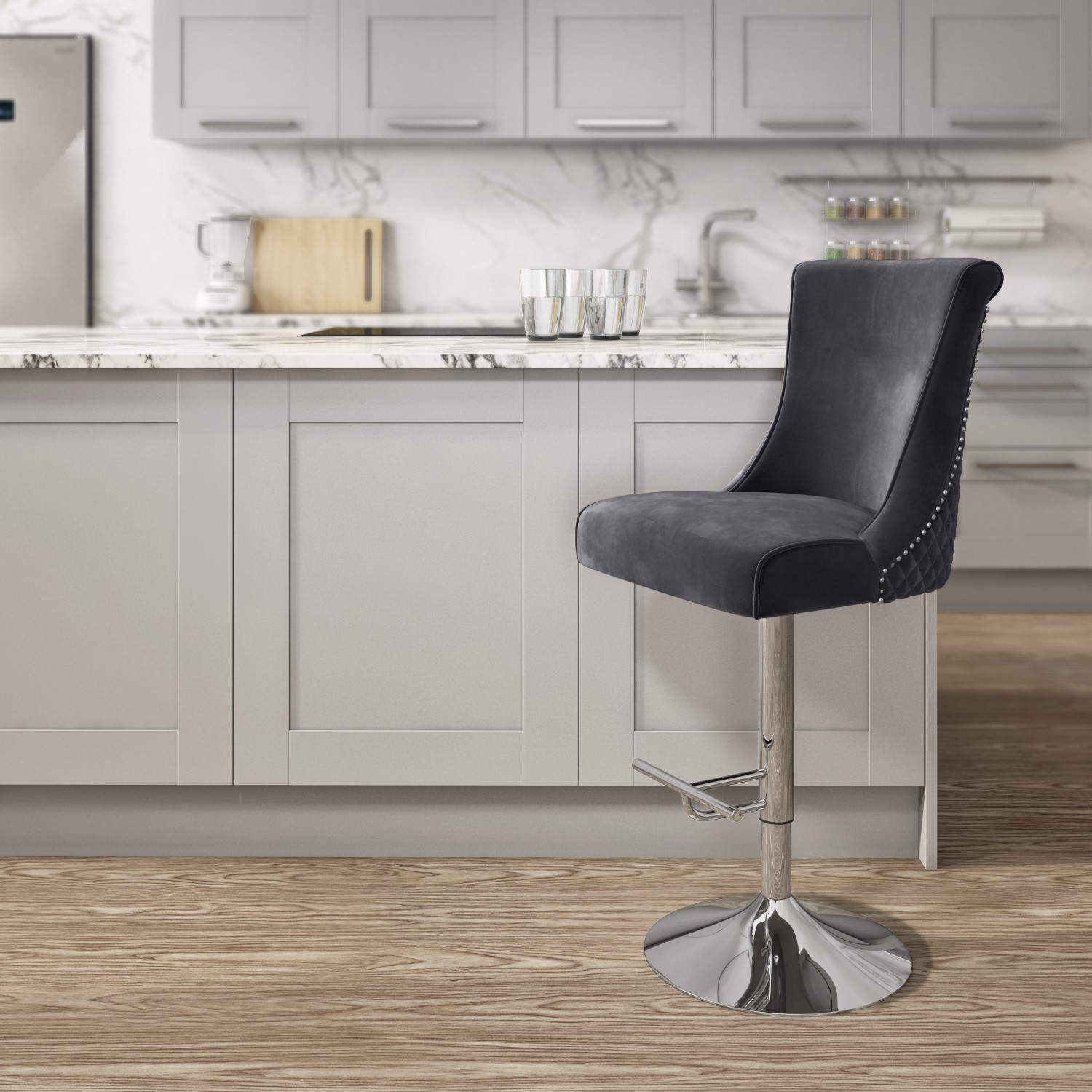 Charcoal Grey Velvet Bar Stool with Chrome Base and Quilted Back  Lucille