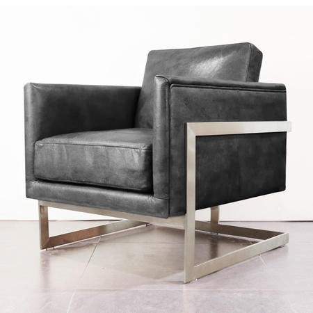 Lexington Black Leather Armchair - Mid Century Style