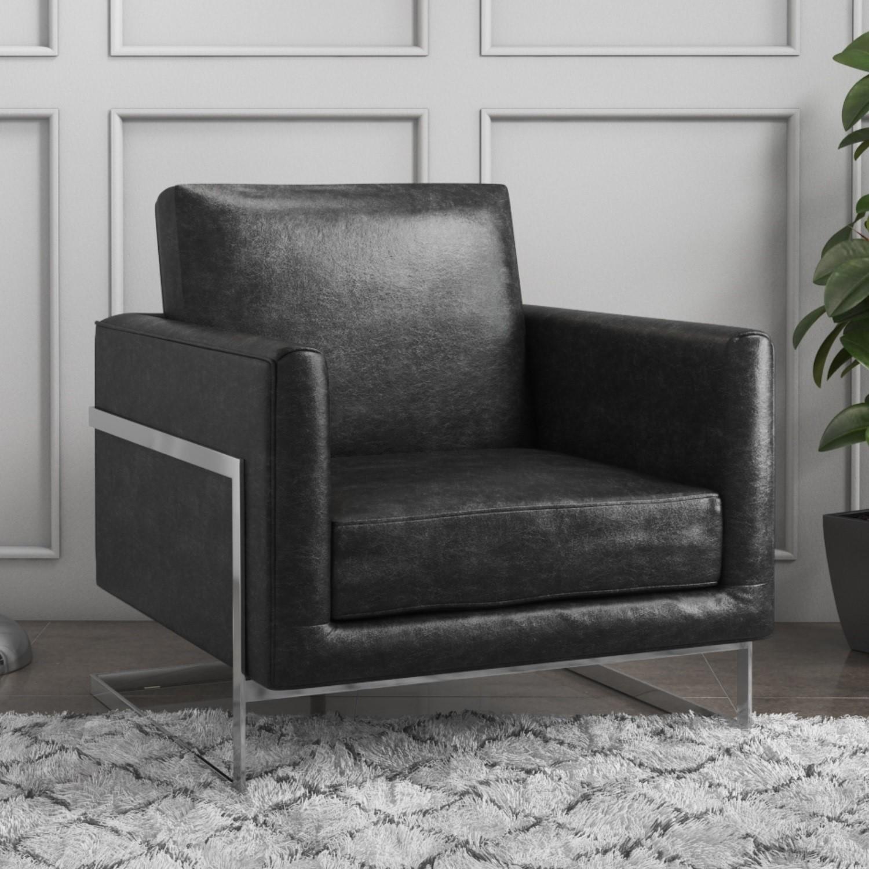 Groovy Lexington Black Leather Armchair Mid Century Style Bralicious Painted Fabric Chair Ideas Braliciousco