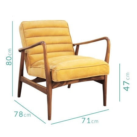 Shoreditch Mid Century Style Real Leather Armchair in Mustard Yellow