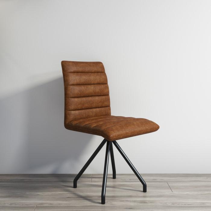 Industrial Real Leather Dining Chair Vintage Tan Brown Hayden Range