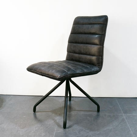 Hayden Real Leather Black Dining Chair - Industrial Style