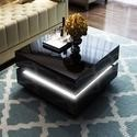 High Gloss Black Coffee Table with LED Lighting - Tiffany Range