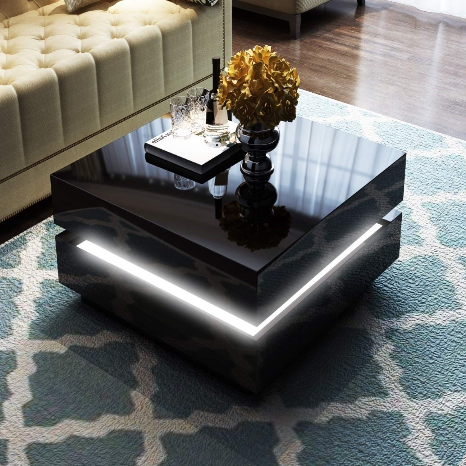 Tiffany Black High Gloss Cubic LED Coffee Table