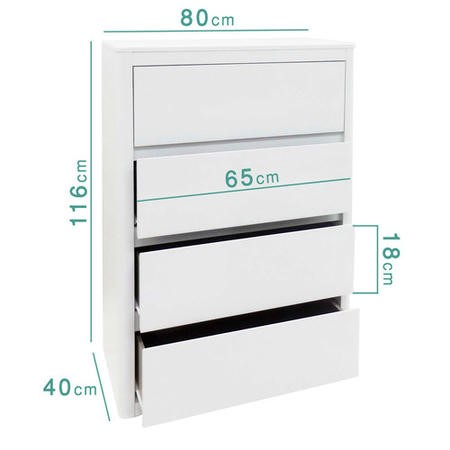 Lexi White High Gloss 4 Chest of Drawers