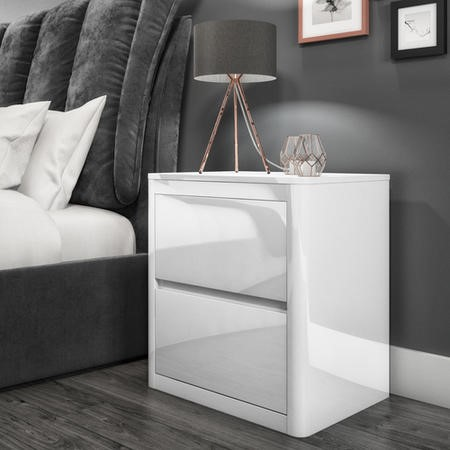 GRADE A1   Lexi White High Gloss 2 Drawer Bedside Table