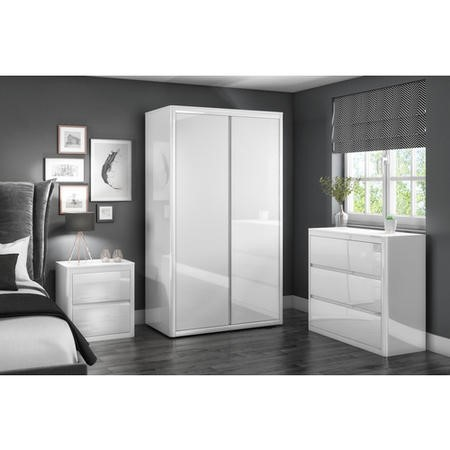 Lexi White High Gloss 3 Chest of Drawers