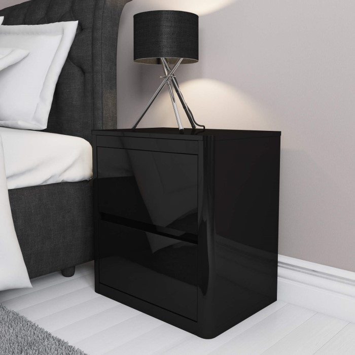 Lexi black high gloss 2 drawer bedside table furniture123 lexi black high gloss 2 drawer bedside table watchthetrailerfo