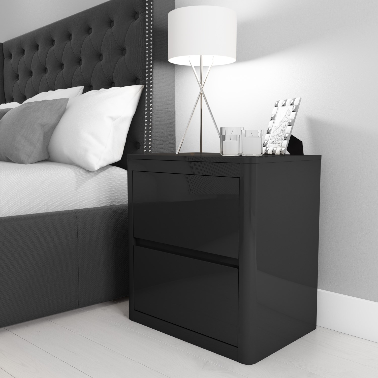 Lexi High Gloss Anthracite Grey 9 Drawer Bedside Table