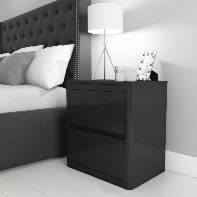 Lexi High Gloss Anthracite Grey 2 Drawer Bedside Table