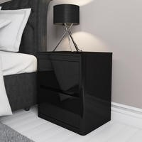 Lexi Black High Gloss 2 Drawer Bedside Table