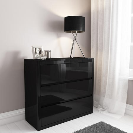 Lexi Black High Gloss 3 Drawer Chest of Drawers