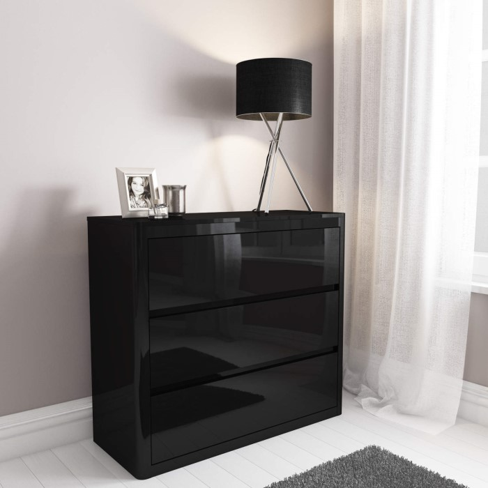 Lexi Black High Gloss 3 Drawer Chest Of Drawers Furniture123