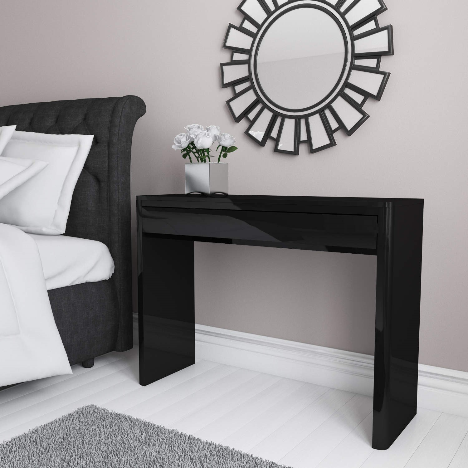 Lexi Black High Gloss Dressing Table Furniture123