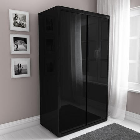 Lexi Black High Gloss Double Wardrobe Furniture123