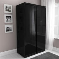 Lexi High Gloss Black Double Wardrobe