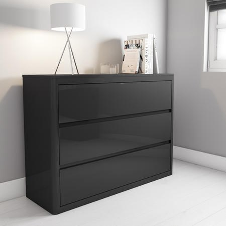 Lexi High Gloss Anthracite Grey Wide Chest Of Drawers