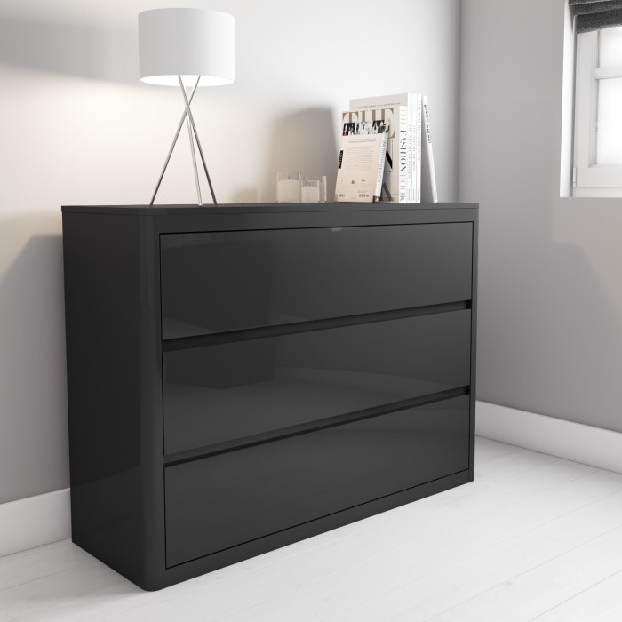 3343db2c97 Lexi High Gloss Anthracite Grey Wide Chest of Drawers | Furniture123