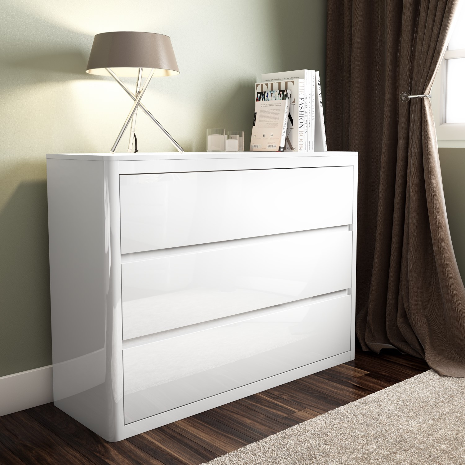 new style 2f9ba 3090b GRADE A1 - Lexi White High Gloss Wide 3 Drawer Chest
