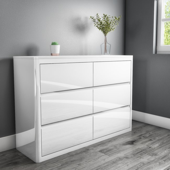 Lexi White High Gloss Wide 6 Drawer Chest of Drawers
