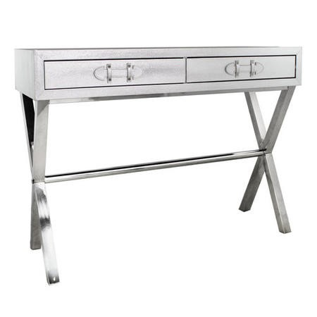 Aurora Boutique Silver Faux Snakeskin 2 Drawer Console Table with Chrome Legs