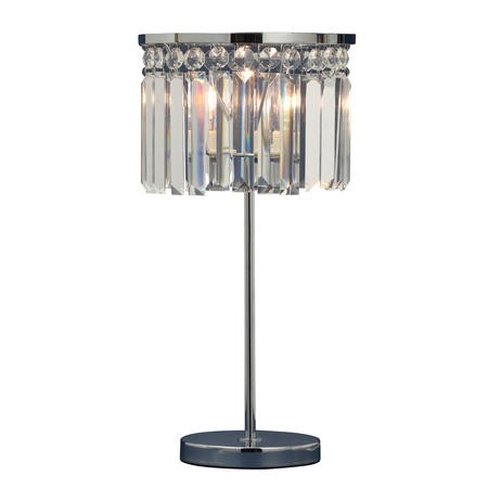 Othello Chrome Table Lamp with Decorative Crystal - 22cm Wide