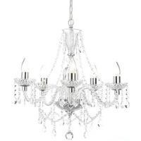 Bryony 5 Light Silver Crystal Chandelier Light with Candle Style Features & Glass Droplets