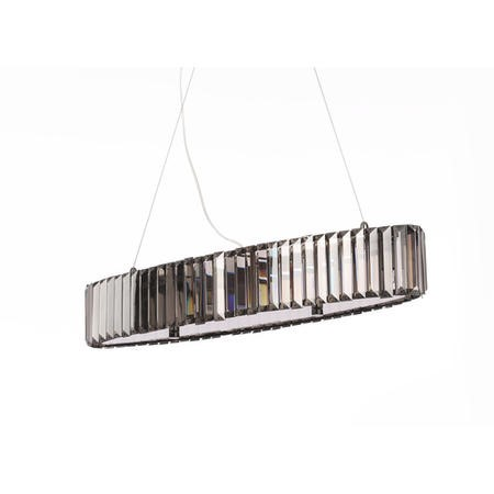 Oval Diner Style Ceiling Light with Decorative Smoked Crystals