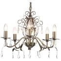 Industrial 5 Light Antique Brass Chandelier with Candle Style Lights & Crystal Pendants - 46cm Wide
