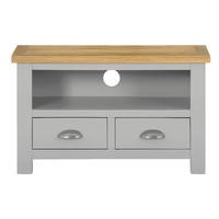 Linden 2 Drawer TV Unit in Pale Grey and Light Oak