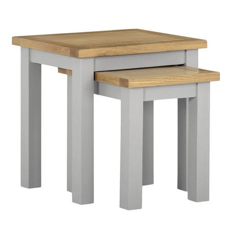 Linden Grey Nest of Tables with Two Tone Oak Top - 2