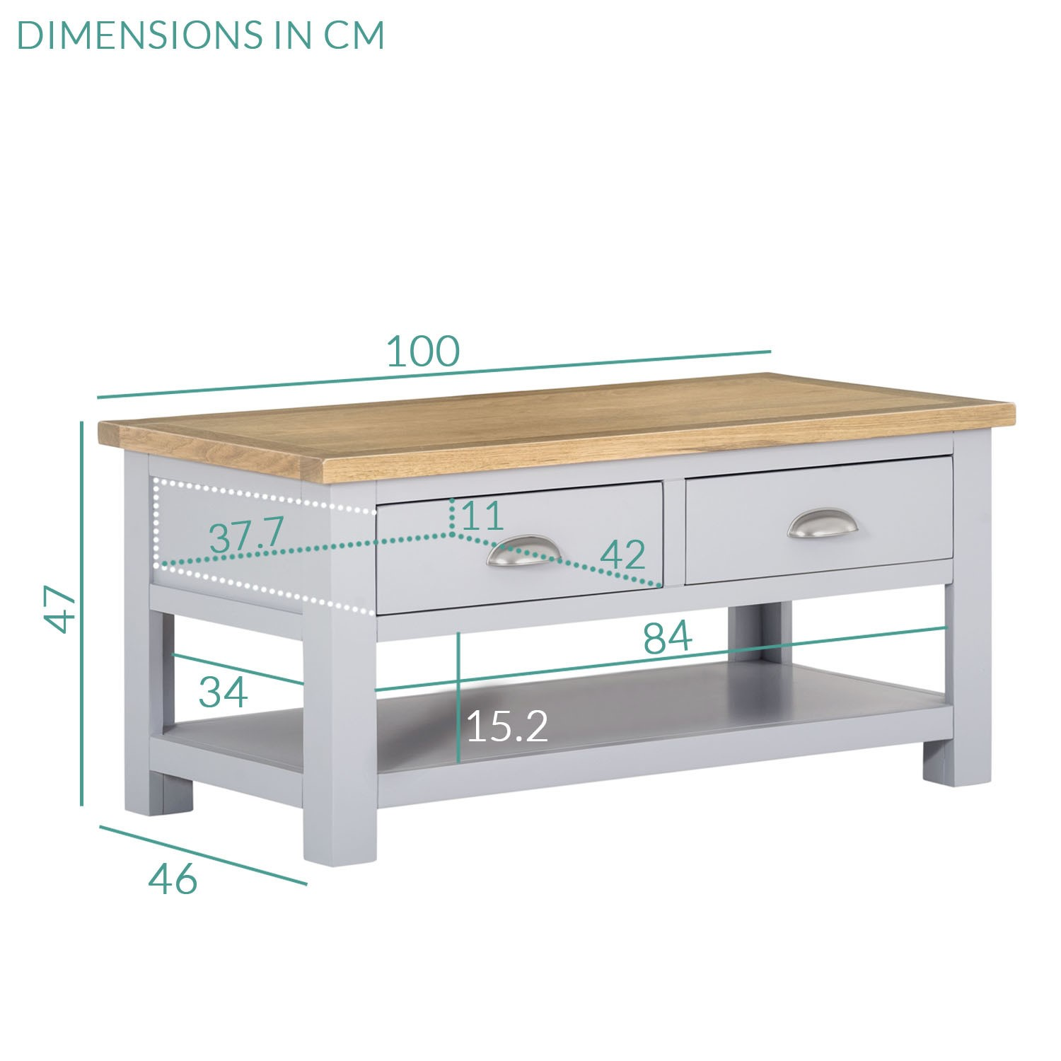 Living Room Coffee Table In Grey With Oak Top Linden Furniture123